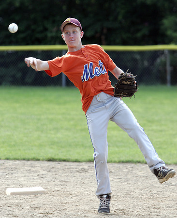 Danvers:<br /> Kim Galvin throws the ball to first at the Danvers National Little League practice at Phinney Field.<br /> Photo by Ken Yuszkus / Salem News, Monday, June 24, 2013.