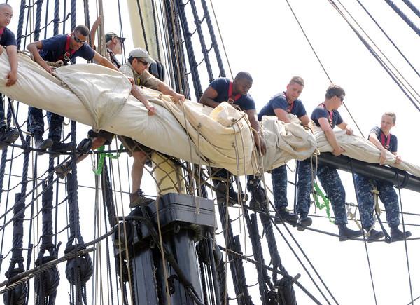 Salem:<br /> Navy sailors from USS Constitution train on the Friendship. <br /> Photo by Ken Yuszkus / Salem News, Monday, June 24, 2013.