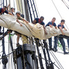 Salem:<br /> Navy sailors from USS Constitution train on the Friendship. <br /> Photo by Ken Yuszkus / Salem News, Monday, June 24, 2013.
