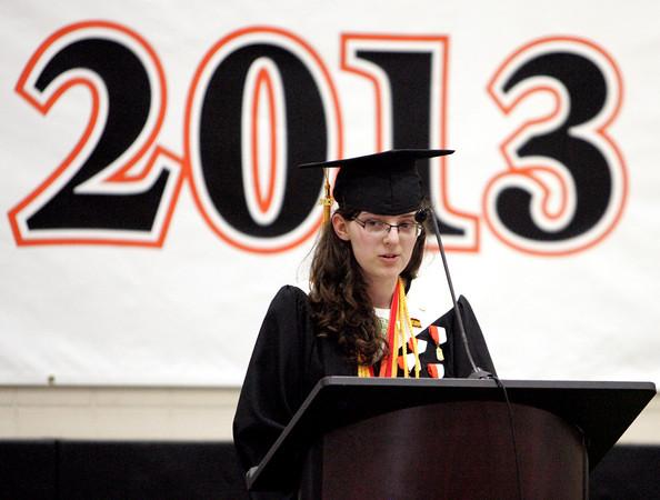 Ipswich:<br /> Salutatorian Katherine Storey gives her address during the Ipswich High School graduation on Sunday.<br /> Photo by Ken Yuszkus, Salem News, Sunday June 2, 2013.