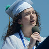 Valedictorian Aristana Scourtas speaks Sunday during Swampscott High School's 2013 graduation ceremonies at the Blocksidge Field House in Swampscott. (Photo by Mike Springer)