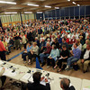 Hamilton: Hundreds of people crammed into the cafeteria and gymnasium at the Winthrop School for a special town meeting to address the controversial proposal to buy Pirie Property. David Le/Salem News