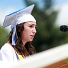 "Danvers: Danvers High School senior class secretary, Katherine Lantych, delivers her part of the ""What Got Us Through"" speech from the senior class officers. David Le/Salem News"