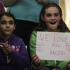 Beverly: Ten-year-olds Sofia Bucco, left, and Hannah Costa, of Beverly, cheer on Beverly native Angie Miller as she performs on American Idol on Wednesday evening. David Le/Salem News