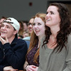 "Beverly: From left, Beverly High School senior Corey Malone, junior Alex Groblewski, and senior Lydia Hester watch Beverly native Angie Miller perform ""Bring Me to Life"" on American Idol at Beverly High School's Community Rally on Wednesday evening. David Le/Salem News"