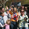 AMY  SWEENEY/Staff photo<br />  Fans wait outside Angie Miller's home as she begins her American Idol journey of a parade and concert in her hometown of Beverly.