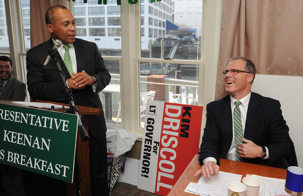 Salem:<br /> Gov. Deval Patrick gets a laugh from state representative John Keenan, right, who the joke was aimed at, during Rep. Keenan's St. Patrick's breakfast.<br /> Photo by Ken Yuszkus/The Salem News, Friday, March 15, 2013.
