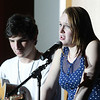 "Beverly: Beverly High School seniors Sam Shorr and Carly Moffie perform a song during a Community Rally held at Beverly High School for the showing of American Idol. Beverly native and 2012 graduate of Beverly High School, Angie Miller performed ""Bring Me to Life."" David Le/Salem News"