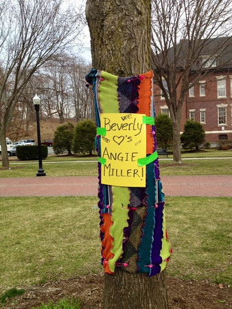 "Teri Ludwig of Beverly made this colorful sweater, wrapped around a tree near Montserrat College of Art in Beverly, from recycled and repurposed clothing. ""It is so much fun to see a young person from our city reach for the stars like that,"" she writes. Courtesy photo"