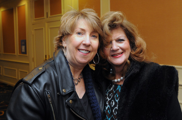 """Danvers:<br /> From left, Susan MacFarlane of Salem and Janice Tranos of Rockport attend the """"Heroes"""" breakfast. The American Red Cross of Northeast Massachusetts honored 12 area residents as its 2013 """"Heroes"""" annual breakfast.<br /> Photo by Ken Yuszkus/The Salem News, Thursday, March 21, 2013."""