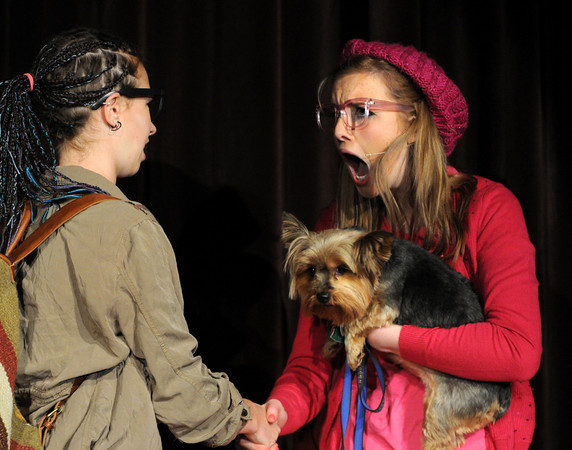 """Peabody:<br /> Nina Groom as Enid, left, and Caroline Devereux as Elle Woods practice their lines during a dress rehearsal for """"LEGALLY BLONDE,"""" a musical to be performed at Bishop Fenwick High School. Performances are Friday and Saturday, March 8 and 9, at 7 p.m, and Sunday, March 10, at 2 p.m. Tickets are $10 for adults and $8 for students and senior citizens, and can be purchased at the door. Admission is $1 off if you bring a donation of a canned good. For more information, visit  <a href=""""http://www.fenwick.org"""">http://www.fenwick.org</a>. <br /> Photo by Ken Yuszkus/The Salem News, Thursday, March 7, 2013."""
