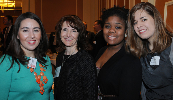 Danvers:<br /> From left, Kristin Noon and Mary Barthelmes, both of Wenham Museum, Stephanie Francis and Tala Strauss, both of Gordon College, attend the North Shore Business Expo at the Double Tree by Hilton on Tuesday.<br /> Photo by Ken Yuszkus/The Salem News, Tuesday, March 5, 2013.