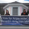 Tatyana, 8, and Natasha Bommer, 11, show off their banner in front of their house on Lothrop Street in Beverly. Tatyana is a Hannah Elementary School student, while Natasha attends Briscoe Middle School. Courtesy photo
