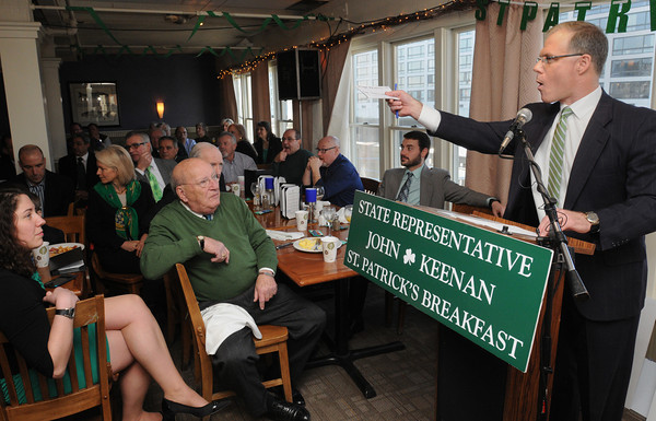 Salem:<br /> State representative John Keenan addresses the crowd at Finz restaurant during State Rep. Keenan's St. Patrick's breakfast.<br /> Photo by Ken Yuszkus/The Salem News, Friday, March 15, 2013.