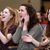 Beverly: Beverly High School junior Alex Groblewski, and seniors Lydia Hester and Mikayla Bishop cheer on Angie Miller at a Community Rally held at Beverly High School on Wednesday evening. David Le/Salem News