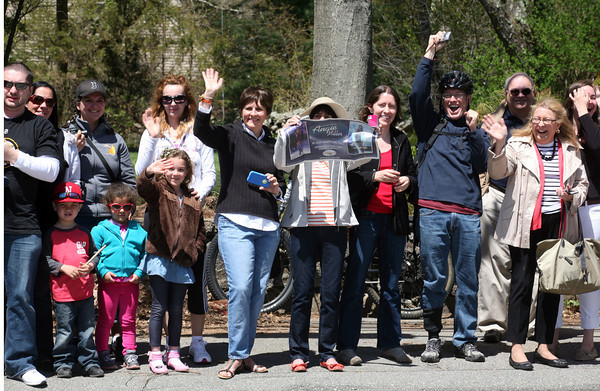 AMY  SWEENEY/Staff photo<br /> Fans wait outside Angie Miller's Essex Street home in Beverly. She is one of the top three contestants in this year's American Idol contest.