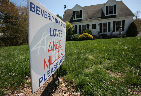 AMY  SWEENEY/Staff photo<br /> A sign outside American Idol Angie Miller's  Essex Street home in Beverly.