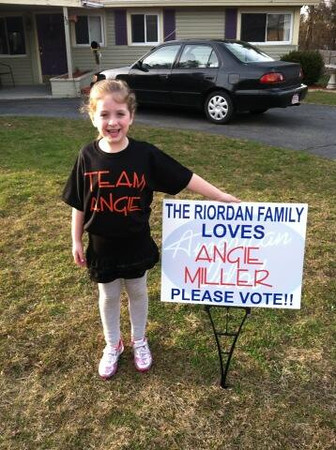 Riley Riordan, 7, a student at North Beverly Elementary School, is an enthusiastic member of Team Angie. Courtesy photo