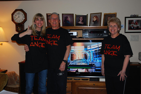 """Buzz Cushing of Beverly, center, shares this photo of his daughter, Belle, left, and wife, Fran, cheering on Angie Miller. """"We are huge followers of Angie and are so proud of her accomplishments,"""" he writes."""
