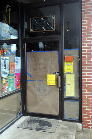 Salem:<br /> The doorway of the Howling Wolf Taqueria with a closed sign in the window.<br /> Photo by Ken Yuszkus/The Salem News, Tuesday, March 12, 2013.