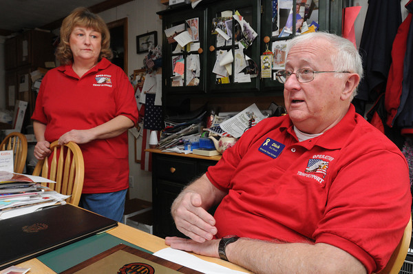 Danvers:<br /> Christine and Dick Moody are founders of Operation Troop Support.<br /> Photo by Ken Yuszkus/The Salem News, Friday, March 15, 2013.