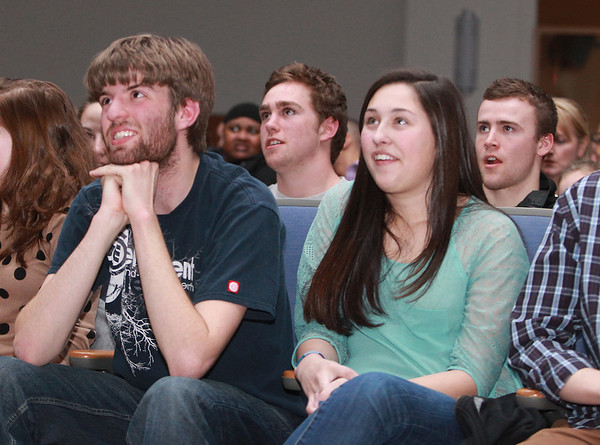 """Beverly: From left, Beverly High School junior Matt Gill, and seniors Cam Rogers, Anna Guanci, and Brendan Flaherty listen to 2012 BHS graduate Angie Miller perform """"Bring Me to Life"""" on American Idol on Wednesday evening. David Le/Salem News"""