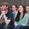 "Beverly: From left, Beverly High School junior Matt Gill, and seniors Cam Rogers, Anna Guanci, and Brendan Flaherty listen to 2012 BHS graduate Angie Miller perform ""Bring Me to Life"" on American Idol on Wednesday evening. David Le/Salem News"