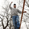 "Salem:<br /> Rusty McStix of Salem walks a 85 foot long slackline which is suspended 6 feet off the ground by being strung between two trees at the Salem Common. He completed a ""full man on site"" which is walking the full length of the 1 inch line and back without falling.<br /> Photo by Ken Yuszkus/The Salem News, Tuesday, March 5, 2013."