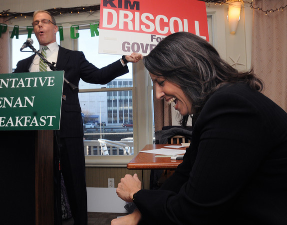 """Salem:<br /> State representative John Keenan displays a political sign stating """"Kim Driscoll for governor"""" which gets a laugh from Mayor Driscoll during Rep. Keenan's St. Patrick's breakfast.<br /> Photo by Ken Yuszkus/The Salem News, Friday, March 15, 2013."""