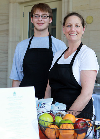 Ipswich: Mary Ferreira, owner of Ferreira Foods, with her assistant Kevin Kenny, of Ipswich, has opened Castle Hill Cafe at the Great House at Castle Hill in Ipswich. The Castle Hill Cafe, which opened May 22nd, is open from 11-2 Wednesday through Saturday, and will stay open until October 12th, the end of the tour season at Castle Hill. David Le/Salem News