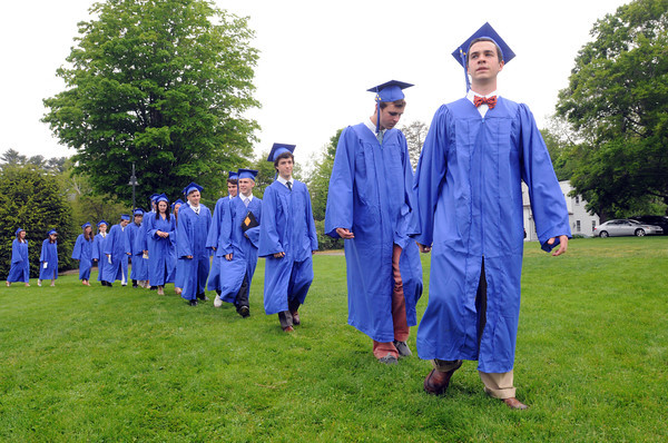 Beverly:<br /> Waring School graduate Henry Lewis, far right, leads the graduates in the processional at the start of the graduation ceremony.<br /> Photo by Ken Yuszkus/Salem News, Friday May 24, 2013.