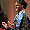 Salem: Graduating Salem State University student speaker Ahmadou Balde, addresses his classmates on Saturday afternoon. David Le/Salem News