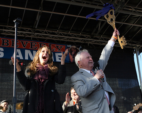 Beverly: Beverly native and American Idol Finalist, Angie Miller, reacts after Beverly Mayor Bill Scanlon presented her with the Key to the City. David Le/Salem News