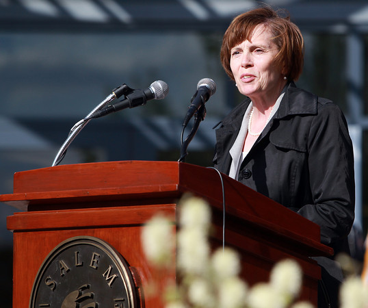 Salem: Patricia Maguire Meservey, President of Salem State University, makes opening remarks about 2009 Salem State graduate Sean Collier, an MIT police officer who was lost in the line of duty April 18, 2013. David Le/Salem News
