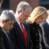 Salem: State Representative Ted Speliotis, State Representative John Keenan, and State Senator Joan Lovely bow their heads in a moment of prayer during a ceremony in memory of 2009 Salem State graduate Sean Collier, who was lost in the line of duty on April 18, 2013. David Le/Salem News