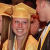 Peabody: Bishop Fenwick Student Council Secretary Kathryn Hart smiles while talking with senior class Vice President Fran Hannon before the start of Commencement on Friday evening. David Le/Salem News