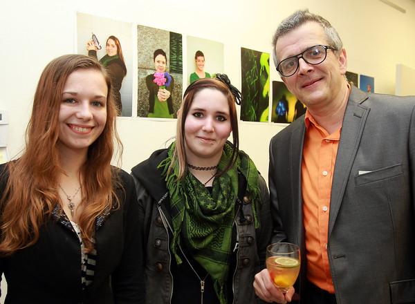 Peabody: Tiffany Walker, Desiree Ferreras, and Joseph Silva, at the ArcWorks Community Art Center's Spring Soiree on Thursday evening. David Le/Salem News