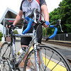 Beverly:<br /> MBTA bike rider Steve Roberge is at the North Beverly Station. A new MBTA program allows people to take their bikes on the trains heading outbound from Beverly. Bikes are also allowed on trains during non-peak hours.<br /> Photo by Ken Yuszkus/Salem News, Tuesday May 21, 2013.