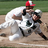 Topsfield:<br /> Pentucket's Sean Clohisy is safe on third base as Masconomet's Greg Jain gets the ball late during the Pentucket at Masconomet baseball game.<br /> Photo by Ken Yuszkus/Salem News, Tuesday June 14, 2013.