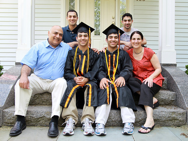 Beverly: Twins Adi, center left, and Idan Davidyan, center right, graduating seniors at Beverly High School, are Valedictorian and Salutatorian and will give the Valedictory address together on Sunday afternoon. They are surrounded by older brothers Raz, back left, and Matan, back right, and their parents, Dr. Eli Davidyan, left, and Dina, right. David Le/Salem News