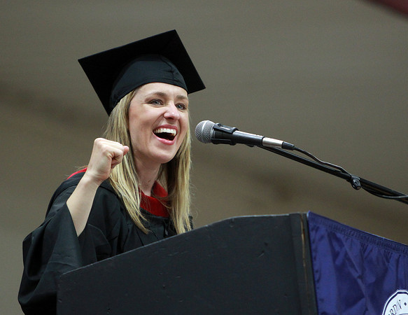Wenham: Gordon-Conwell student speaker April Rhodes addresses her fellow graduates during the Commencement Exersizes on Saturday morning. David Le/Salem News