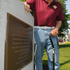 Beverly:<br /> Korean War veteran Arnold Doucette stands near the Korean War memorial at Veterans Memorial Park in Beverly. Beverly will no longer have a parade as part of its Memorial Day ceremonies because many of the veterans are unable to march.<br /> Photo by Ken Yuszkus/Salem News,  Monday May 20, 2013.