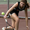 Peabody:<br /> Beverly's Meggie Manzo competes in a singles match at the Beverly at Peabody girls tennis match.<br /> Photo by Ken Yuszkus/Salem News,  Monday May 20, 2013.