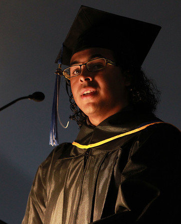 Swampscott: Marian Court College student speaker Gabriel Santiago addresses his fellow graduates during Marian Court's Commencement exercises on Wednesday evening. David Le/Salem News