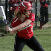 Marblehead:<br /> Marblehead's Emily Messinger at the batter's box during the Salem at Marblehead softball game.<br /> Photo by Ken Yuszkus/Salem News, Monday June 6, 2013.