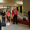 Salem:<br /> State Treasurer Steven Grossman introduces himself and his staff in the foyer of Salem High School. He was at the school for a roundtable discussion on Financial Literacy grants awarded to 11 Gateway Cities around the state.<br /> Photo by Ken Yuszkus/Salem News,  Monday May 20, 2013.