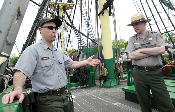 Salem: Jeremy Bumagin, Chief of the Marine Division for Salem Maritime, left, and Jonathan Parker, of the National Park Service, talk about the ongoing renovations to the Friendship on Friday afternoon. David Le/Salem News