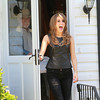 AMY  SWEENEY/Staff photo<br /> American Idol Angie Miller greets her fans outside her home on Essex Street in Beverly.