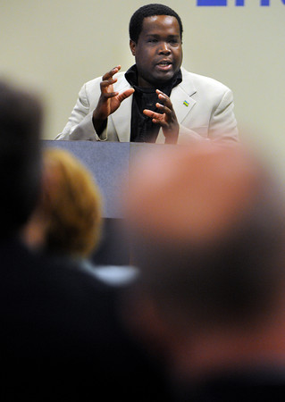 Salem:<br /> Claude Kaitare, Rwandan genocide survivor and participant in Rwandan genocide oral history project, speaks at the launch of Center for Holocaust and Genocide Studies at Salem State University.<br /> Photo by Ken Yuszkus/Salem News,  Wednesday May 22, 2013.