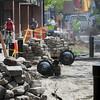 Salem:<br /> Work is underway at the Essex Street pedestrian mall.<br /> Photo by Ken Yuszkus/Salem News, Wednesday June 15, 2013.